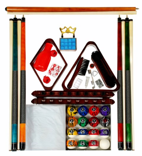 Billiard - Pool Table Accessory Kit W/ Dark Marble  Ball Set Mahogany Finish